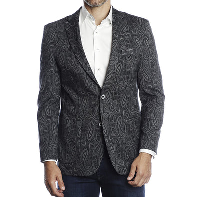 Charcoal Paisley, Recycled Yarn, Travel Coat