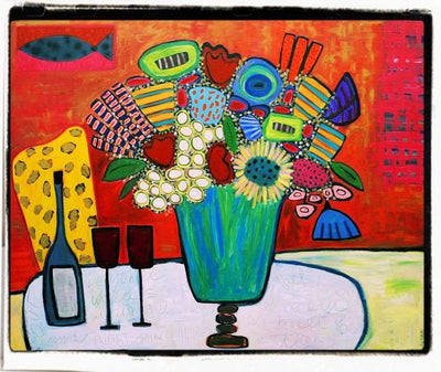 Julie Abbott Art: Wine & Flowers