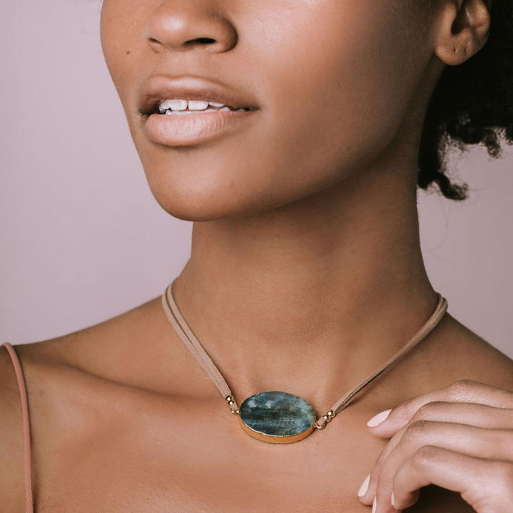 Suede/Stone Wrap - Majestic Jasper/Gold/Stone of Serenity