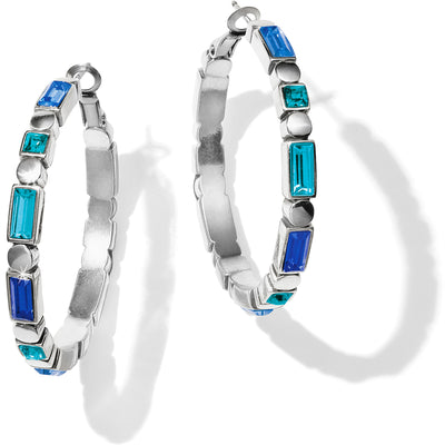 Blue Showers Leverback Hoop Earrings