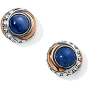 Neptune's Rings Brazil Blue Quartz Button Earrings