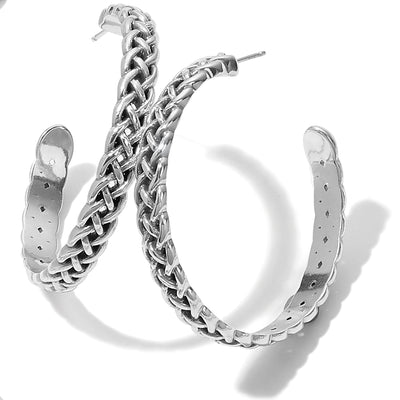 JA7050Interlok Braid Large Hoop Earrings