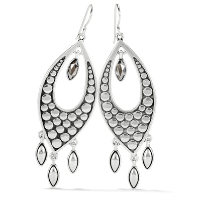 Pebble Disc Marquise Statement French Wire Earrings