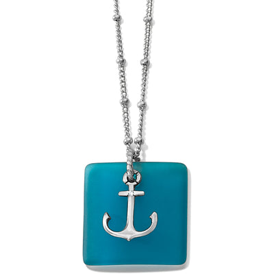 Sea Shore Anchor Glass Necklace