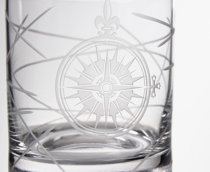 York Compass Rose Whiskey Square Decanter