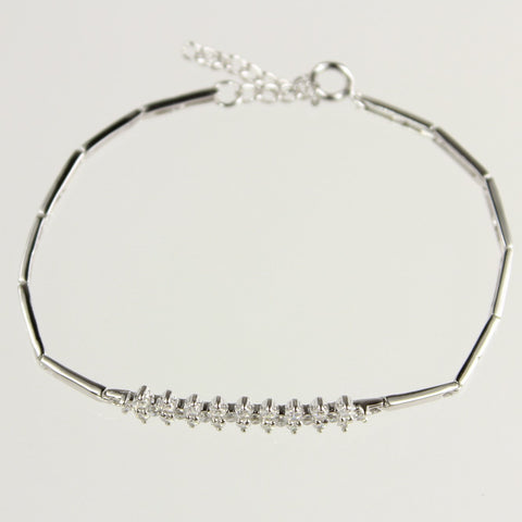 Bar Marquise Cubic Zirconia Sterling Silver Tennis Bracelet