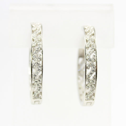Arabesque Cubic Zirconia  Inside Out Silver Hoop Earrings