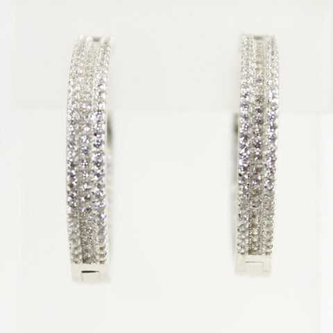 Channel Set Inside Out Cubic Zirconia Silver Hoop Earrings