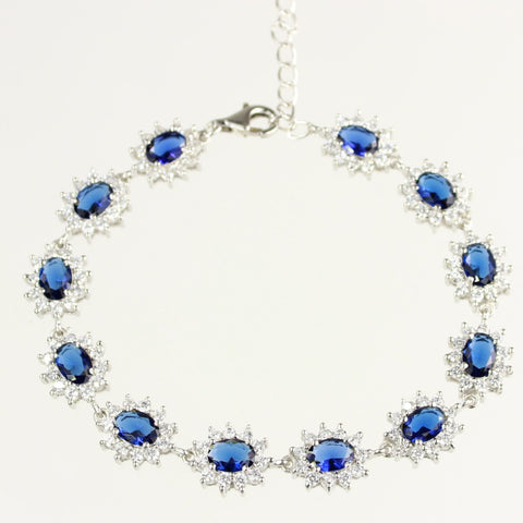 Blue Sapphire and White Cubic Zirconia Sterling Silver Bracelet