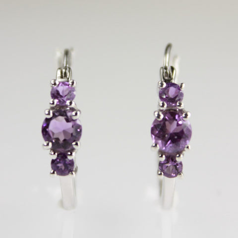 Genuine Amethyst 3 Stone Silver Hoop Earrings