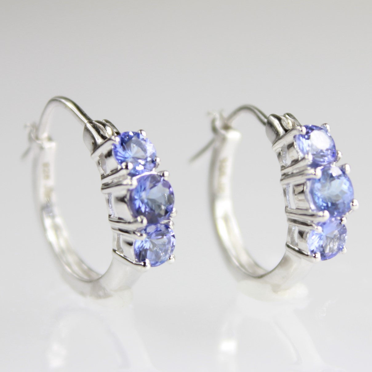 Genuine Tanzanite 3 Stone Sterling Silver Hoop Earrings