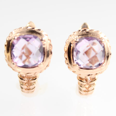 Genuine Amethyst 14K Pink Gold Plated  Silver Earrings