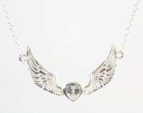 Heart Angel Wings Cubic Zirconia Sterling Silver Necklace