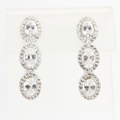 3 Stone Cubic Zirconia Linear Sterling Silver Earrings