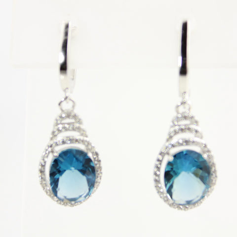 Blue Sapphire Oval Cubic Zirconia Sterling Silver Dangle Earrings