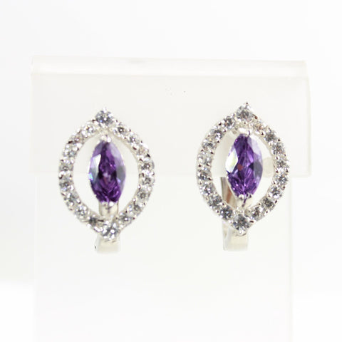 Amethyst Cubic Zirconia Marquise  Silver Earrings