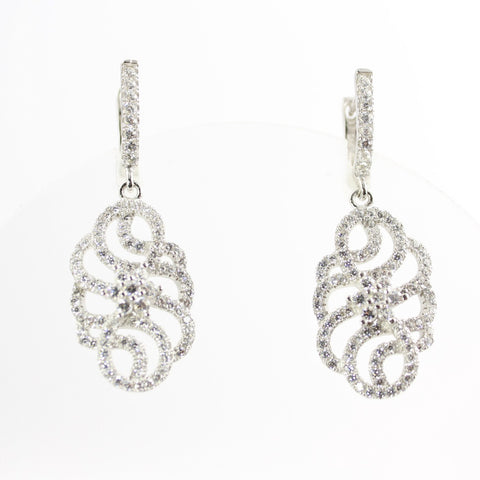 Arabesque Cubic Zirconia Silver Dangle Earrings