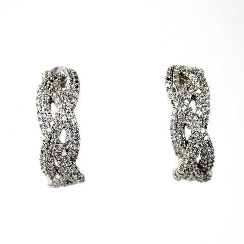 Braided C-Hoop Cubic Zirconia Silver Earrings