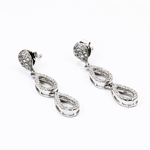 Double Oval Cubic Zirconia Sterling Silver Dangle Earrings
