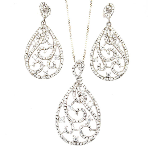 Arabesque Cubic Zirconia Teardrop Sterling Silver Pendant Necklace and Earrings Set