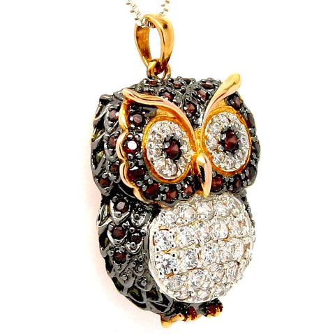 14K Gold Plated Cubic Zirconia Owl on Silver Pendant Necklace