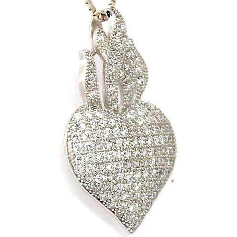 Heart Pave  Cubic Zirconia Sterling Silver Necklace