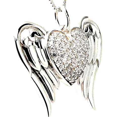 Heart Angel Wings Cubic Zirconia Silver Pendant Necklace