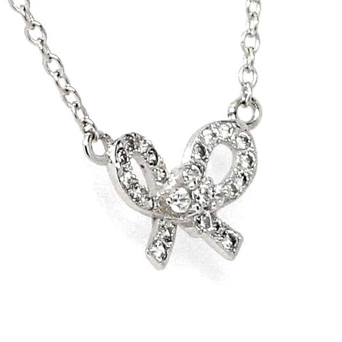 Bow Design Cubic Zirconia Sterling Silver Necklace