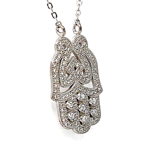 Hamsa Cubic Zirconia Sterling Silver Pendant Necklace