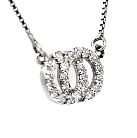 Doble Circle Interlocking Cubic Zirconia Sterling Silver Necklace
