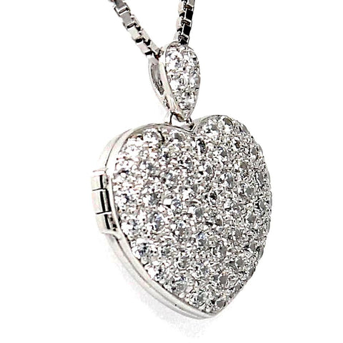 Heart locked Picture Cubic Zirconia Sterling Silver Pendant Necklace
