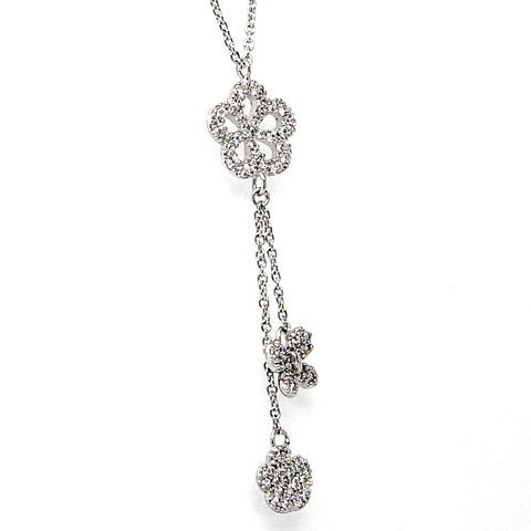 Butterfly Flower Cubic Zirconia Silver Necklace