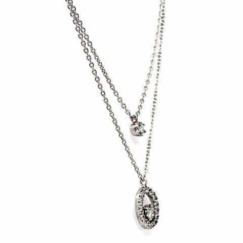 Double Chain Sterling Silver Cubic Zirconia Necklace