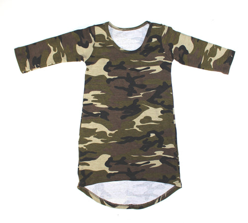 Girls Camo Long Sleeve Maxi Dress - LITTLE FOOT CLOTHING CO.