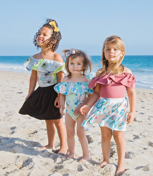 GIRLS FLORAL OFF THE SHOULDER LEOTARDS - 5 OPTIONS - LITTLE FOOT CLOTHING CO.