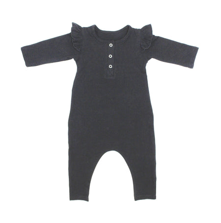 Black Unisex Three Snap Romper