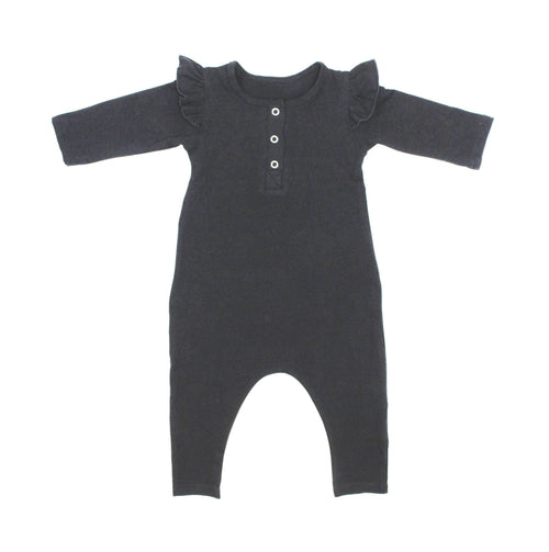 Girls Black Three Snap Romper - LITTLE FOOT CLOTHING CO.