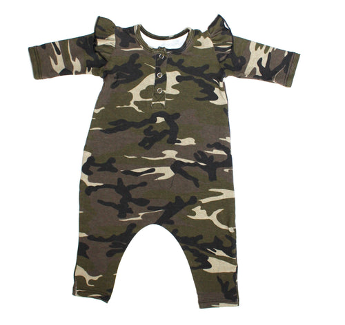 Girls Camo Three Snap Romper - LITTLE FOOT CLOTHING CO.