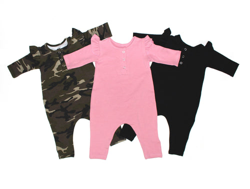 GIRLS BLACK THREE SNAP ROMPER (0/3 M - 3T)