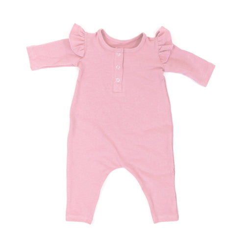 GIRLS ROSY PINK THREE SNAP ROMPER - LITTLE FOOT CLOTHING CO.