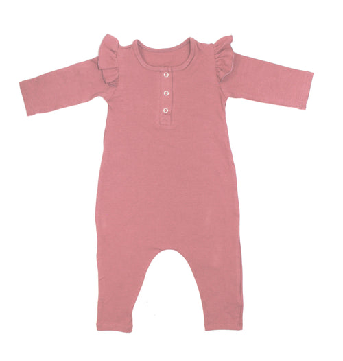 Girls Dusty Rose Three Snap Romper - LITTLE FOOT CLOTHING CO.