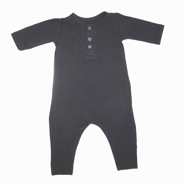 Black Unisex Three Snap Romper - LITTLE FOOT CLOTHING CO.