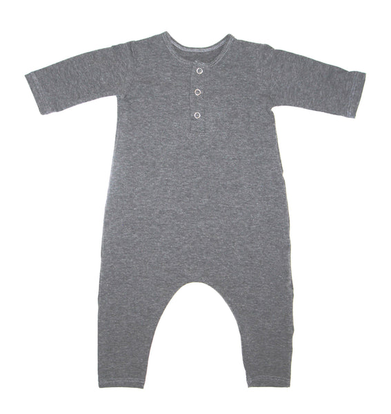 HEATHER GRAY THREE SNAP ROMPER - LITTLE FOOT CLOTHING CO.