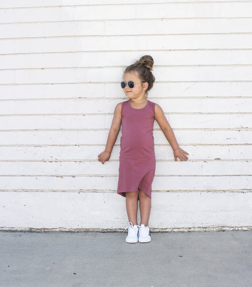 Girls Dusty Rose Tank Maxi Dress - LITTLE FOOT CLOTHING CO.