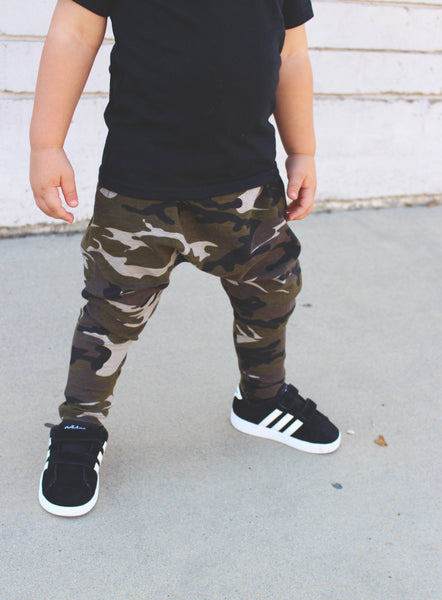 UNISEX CAMO HAREM PANTS - LITTLE FOOT CLOTHING CO.