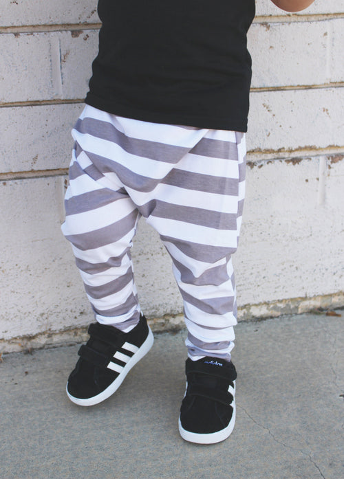 UNISEX GRAY STRIPE HAREM PANTS - LITTLE FOOT CLOTHING CO.