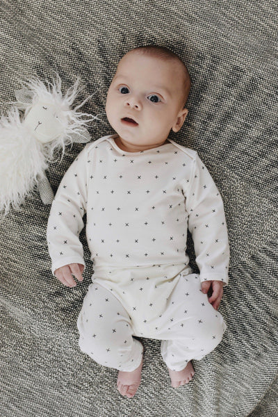 BABY SNAP ROMPER - GRAY X'S - LITTLE FOOT CLOTHING CO.
