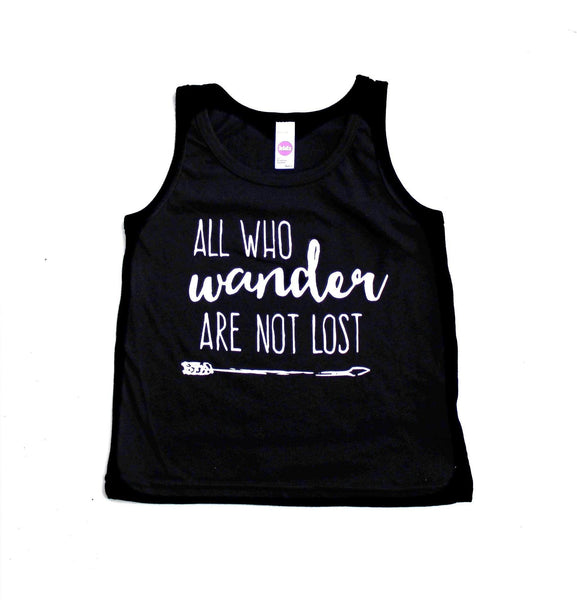 KIDS BLACK GRAPHIC TANK - ALL WHO WANDER ARE NOT LOST (Kid's T-Shirt)