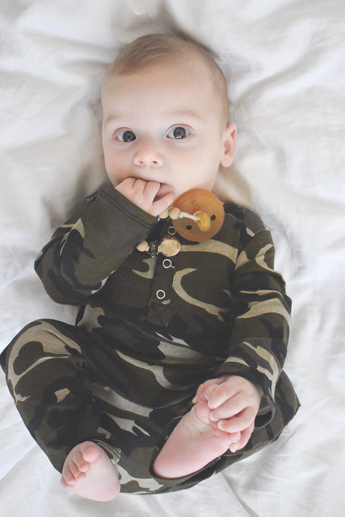 Camo Unisex Three Snap Romper - LITTLE FOOT CLOTHING CO.