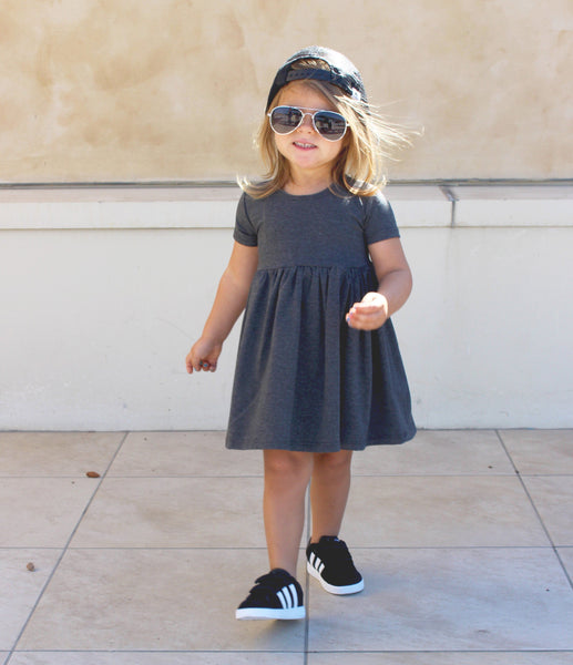 GIRLS HEATHER GRAY CAP SLEEVE DRESS (0/3 M - 6T)